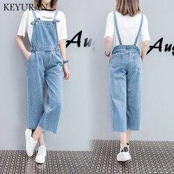 Женский джинсовый комбинезон большого размера, повседневные свободные сплошные комбинезоны без бретелек в стиле ретро, ковбойские комбине...