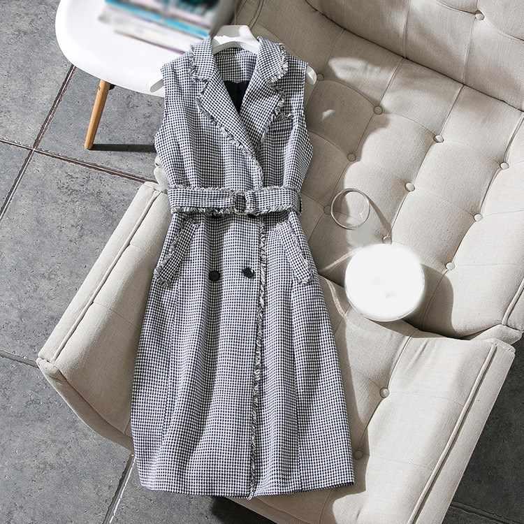 Осенне-весеннее женское офисное платье винтажное тонкое платье-жилет клетчатое платье с поясом женское модное платье без рукавов с кисточками
