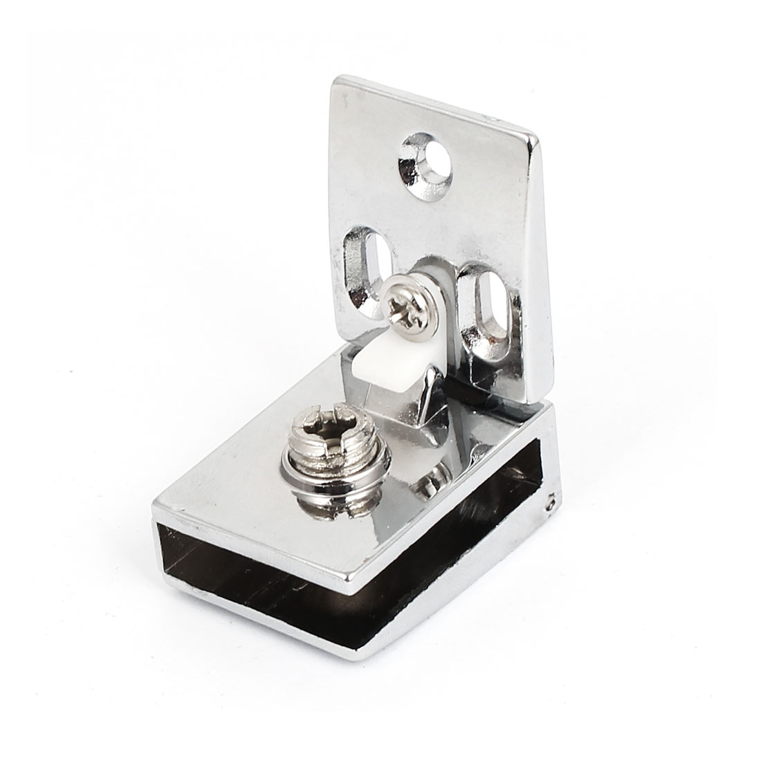Thickness Zinc Alloy Adjustable Glass Door Hinge Silver Tone 81Mm Long