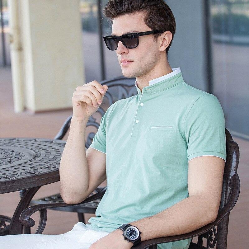 17c85d203 Jóvenes Hombres Sólido Camisa de POLO Masculino Delgado Ropa de Los Hombres  de Cuatro Colores de Algodón de Manga Corta Hombres Ropa de Estilo de  Negocios ...