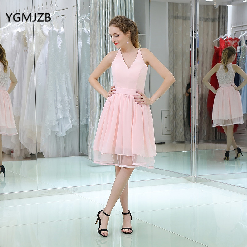 Cheap   Bridesmaid     Dresses   Lace 2018 A Line V Neck Sheer Back Knee Length Chiffon Short   Bridesmaid     Dress   Pink Wedding Party   Dress