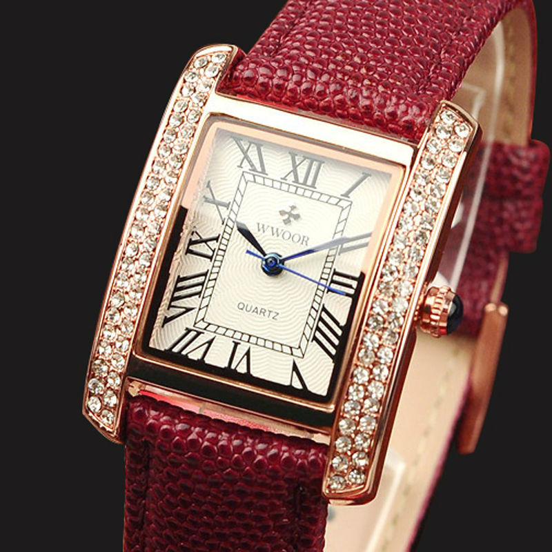 WWOOR Top Brand Luxurious Fashion Diamond Wrist Watches For Women Dress Casual Quartz Ladies Watch Red Leather Waterproof Clocks