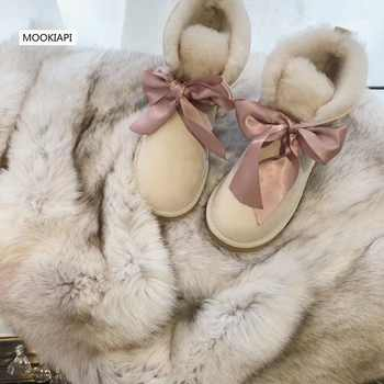 High-quality snow boots in Europe in 2019, real sheepskin, 100% natural wool, women shoes 5 colors Free Delivery