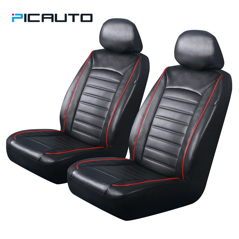 New Universal Car Front Seat Covers Black Pu Leather With