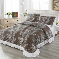 Luxury Plant Pattern Quilted Bedspread 100% Cotton Coverlet Set Elegant Summer Bedspread Comforter Fabric Coverlet