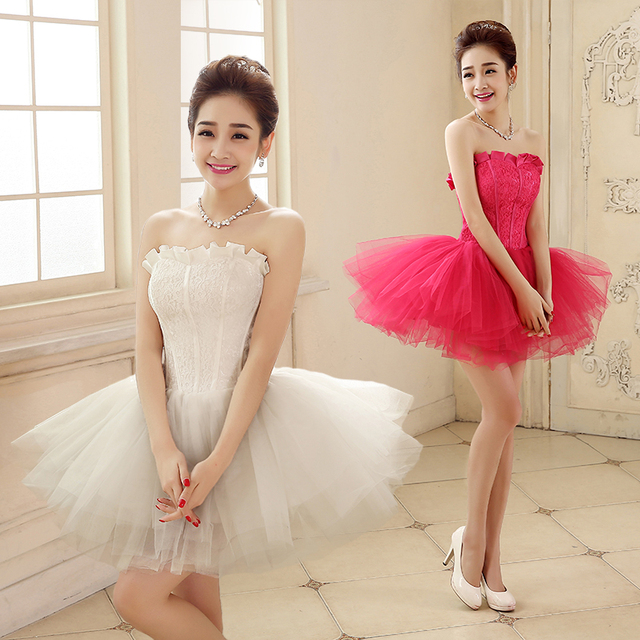 2016 new arrival stock maternity plus size bridal gown evening dress Korean  Lovely Princess Short Sexy rose red LF1803 d5ac9a850fbb