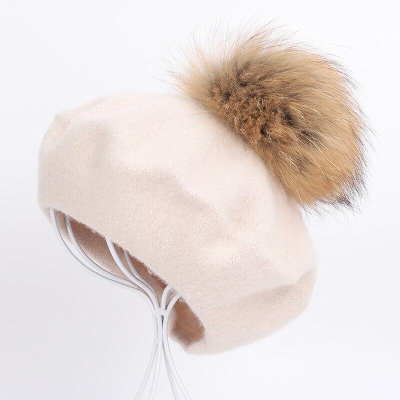 Берет художника, уличные шапки художника, осень и зима, новые теплые вязаные однотонные кепки, модный мех енота, помпон, берет в стиле винтаж - Цвет: Beige