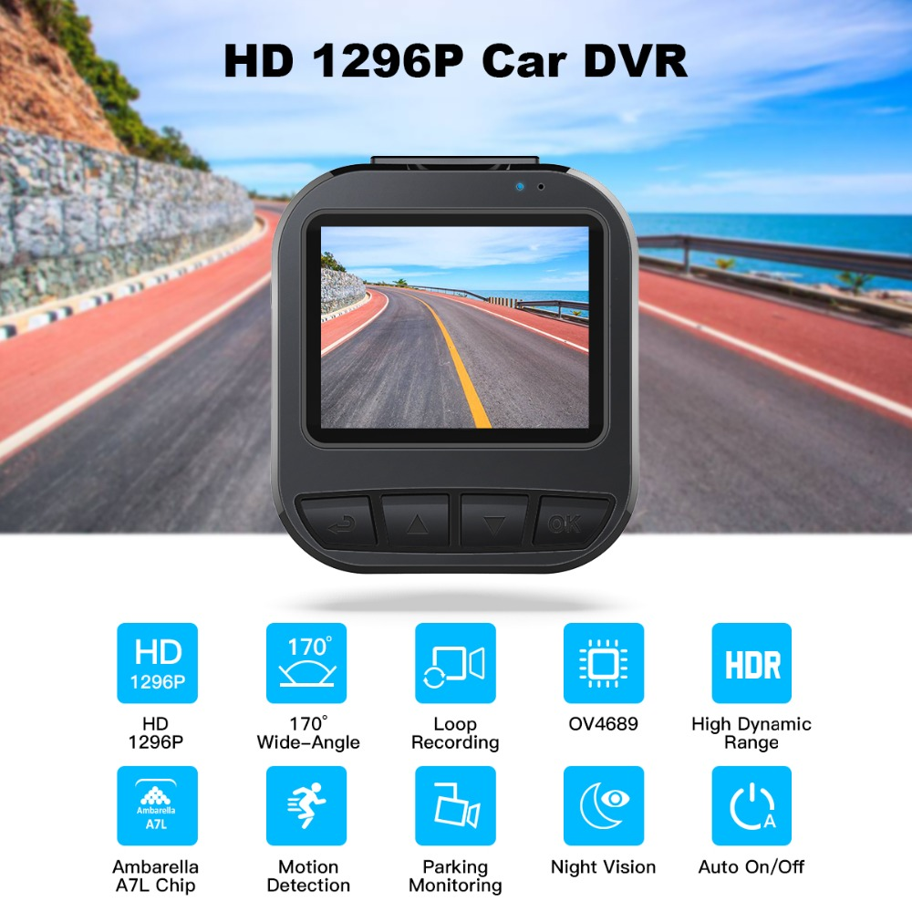 цена на Car DVR 2 TFT LCD Super HD 1296P 16MP Video Recorder Camera Dash Cam H.264 170 Wide Angle with Parking Monitor HDR Night Vision