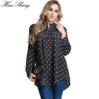 Fashion Autumn Women Long Sleeve Blouse Fold Front Polka Dot Print White And Black Women Tops