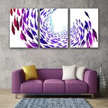 Drop Pengiriman 3 Panel Dinding Modular Lukisan Kanvas Lukisan untuk Ruang Tamu Dinding Dekoratif Gambar Ikan Merah Dekorasi Rumah