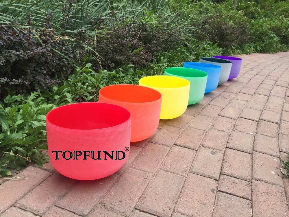 TOPFUND 432HZ  Chakra Set of 7 Colored Frosted Crystal Singing Bowls --all 10** orihiro трутовик 432 таблетки