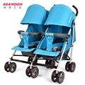 Venda direta novo estilo luz Gêmeos carrinho de bebê amortecedores carro guarda-chuva dobrável quatro estações duplo carrinho de bebê