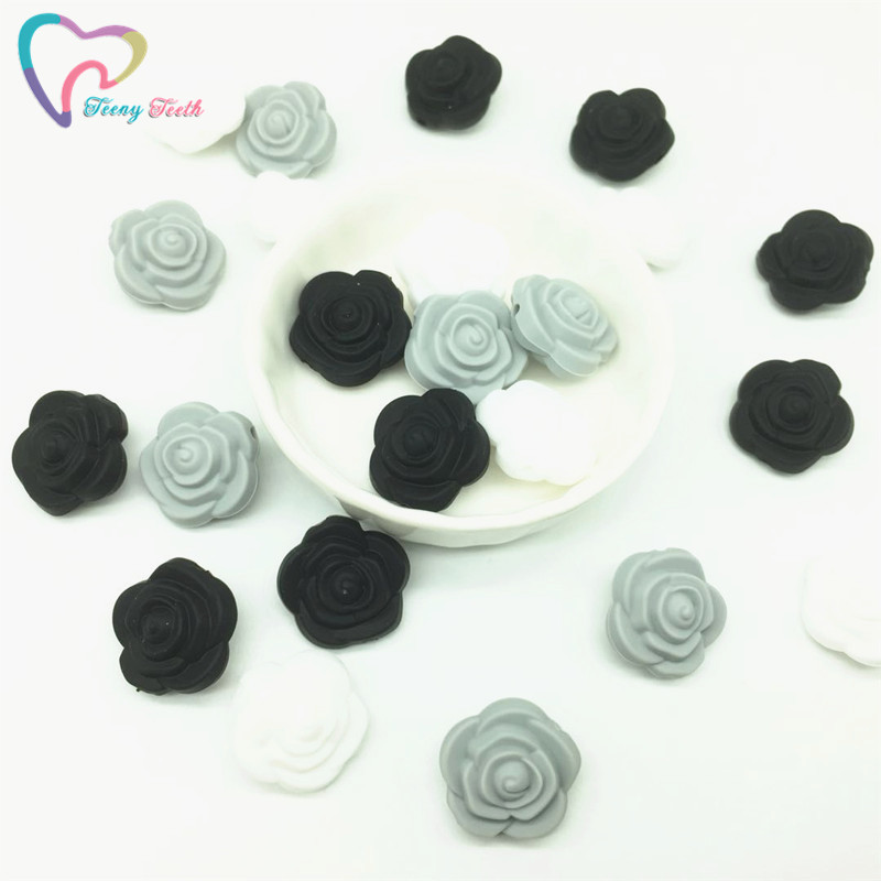Beads Teeny Teeth 9 Pcs Rose Silicone Beads Bpa Free Silicone 3d Rose Flower Diy Teething Beads For Food Grade Nursing Necklace Toys Attractive Appearance