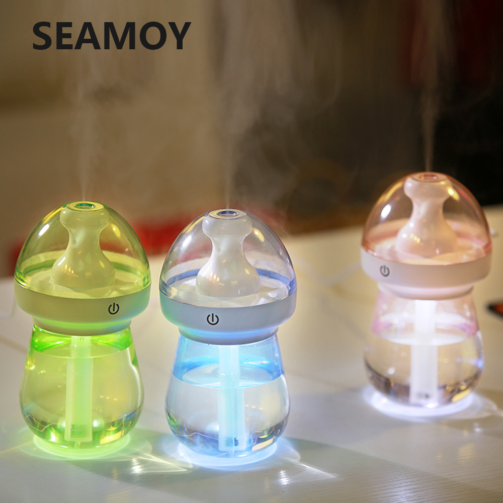 USB Ultrasonic Air Humidifier With Colorful Led Light Auto Off Touch Switch 180ML Mini Humidifier Relieve Dry Skin image