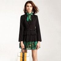 Charming Look Style Elegant Runway Women Fashion Dress Suits Black Blazer Flower Printing Dress Slim Twin Sets Outfits