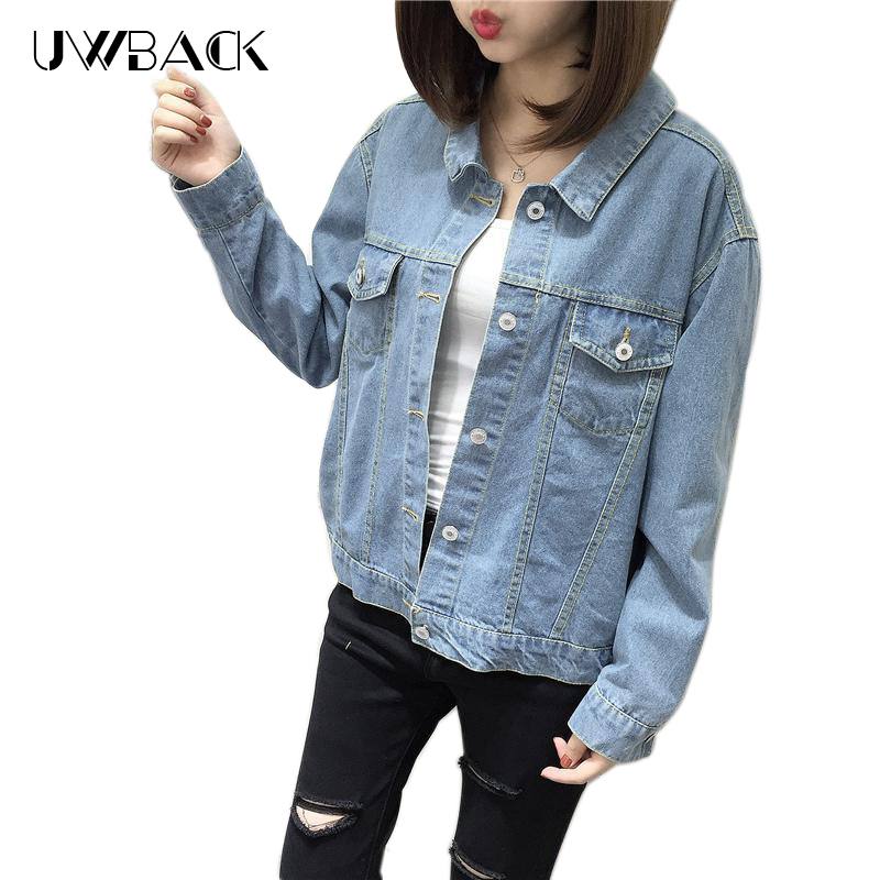 ac1c22c9efd Uwback Women Denim Jacket Spring Autumn Straps Bow Tie Cross Back Female  Jackets Coat Loose Slim