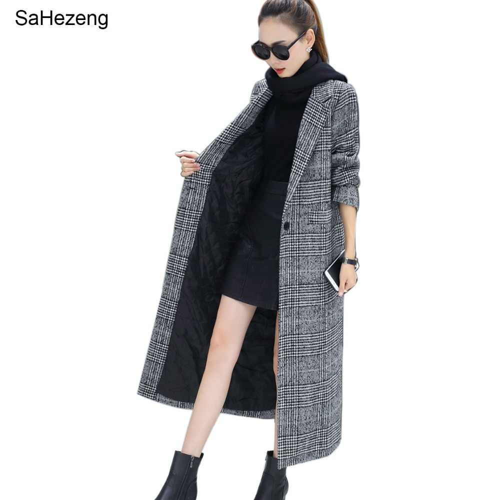 Women Wool Coat Plaid Women Loose Long Single Breasted Woolen Coats Winter Coat Woolen Overcoat 2018 Wool Jackets Trench WJ54
