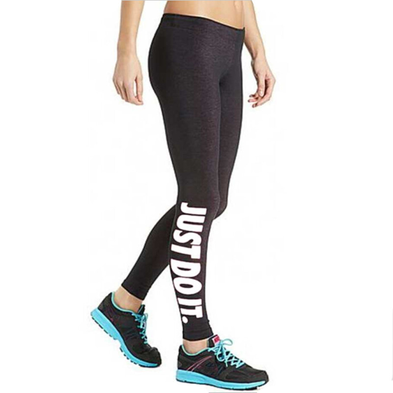 Fitness Leggings Legins-Pants Warm-Legs Printing Push-Up Elastic Slim Workout Black