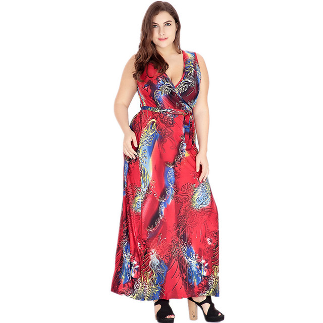 VITIANA  2017 Womens Summer  Beach Clothing Bohemian Blue Red Print Maxi Long Party Casual Dress Plus Size 5XL 6XL With Belt