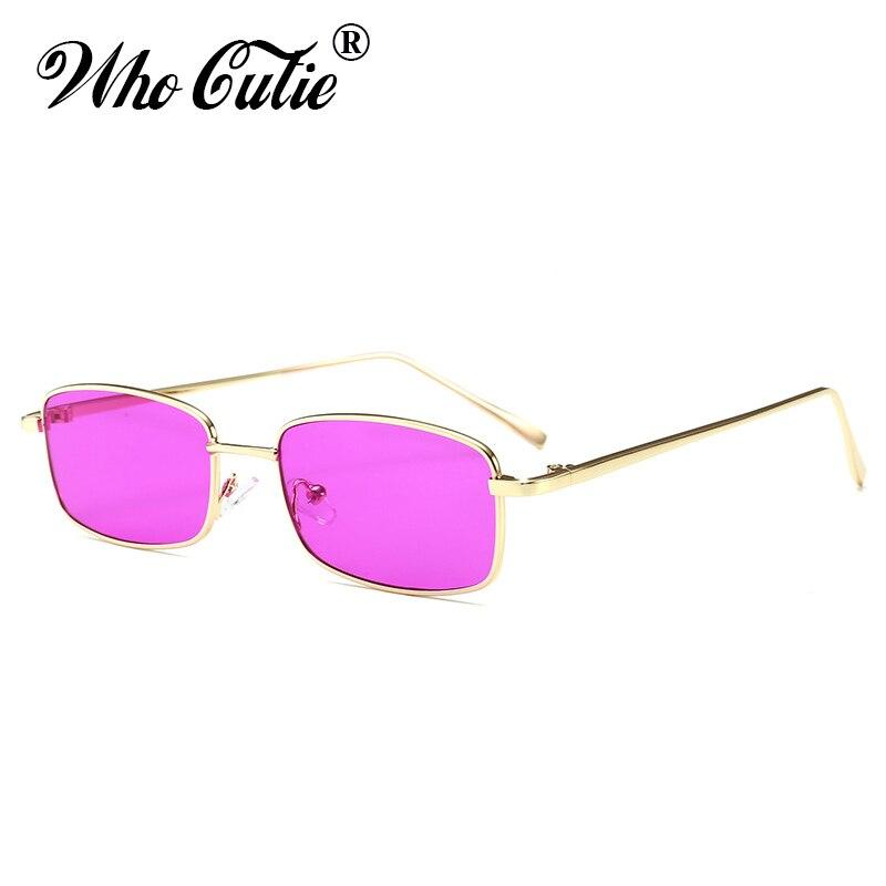 , DIE CUTIE 90 S Lila Sonnenbrille Frauen Männer Markendesigner Vintage Retro 2018 Kleine Rechteckige Sonnenbrille Flat Top Shades OM522B