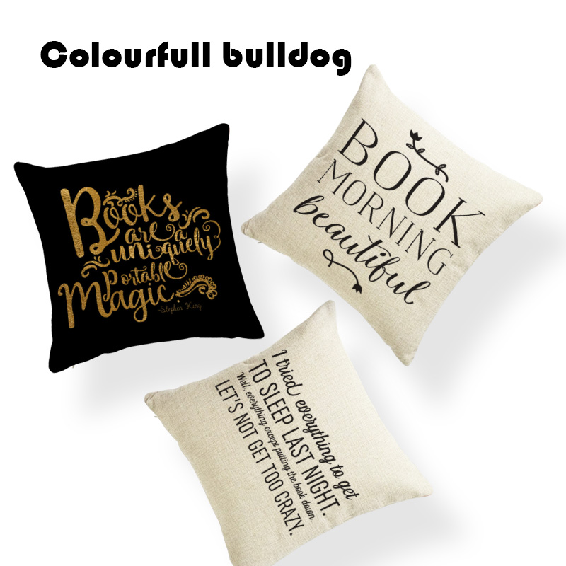 Sublimation Material Pillow Reading Book Cushion Case Inspirational Study Brain Gaming C ...