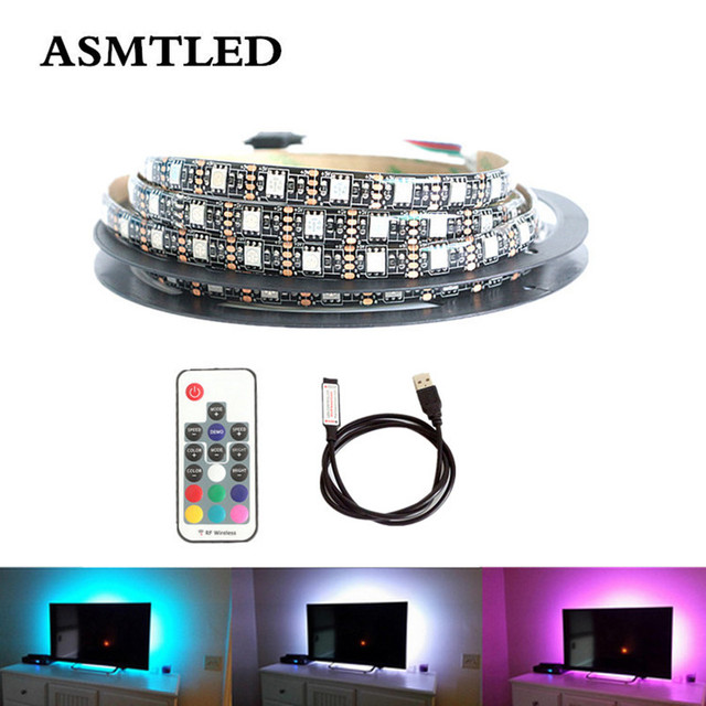 Dc 5v Black Smd 5050 Rgb Usb Led Strip Light Lamp Tape With Mini 3key 24 44 17key Rf Ir Remote 1m 2m 3m 4m 5m For Tv Background