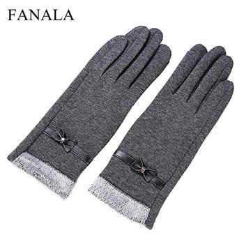 New Warm Simple 1Pair Tie Adults One Polyester most Gray Plain fits Fashion of Bow Gloves Elegant Winter Solid size Women