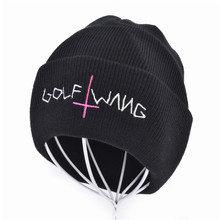 winter Unisex hat Warm Knit Beanie Cap Letter embroidered Golf Wang Braided Hat Crucifix hats for women men brand new beanie hats for unisex women men letter printed warm winter knit cap gorros hombre christmas gift 1pair 2016