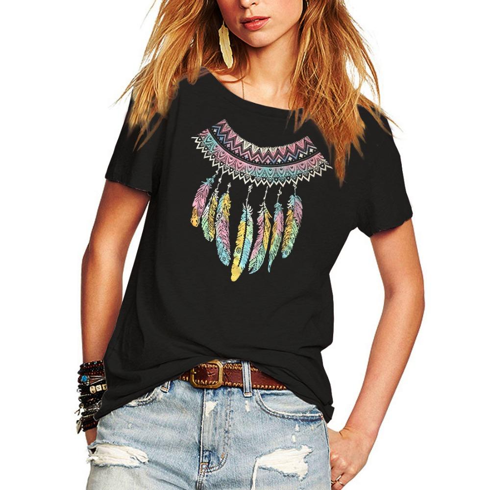 48b429e1ed042c Romastory NewT Shirt Women Short Sleeve O Neck Casual Feather Print ...