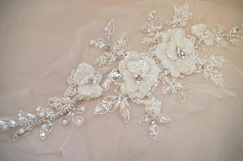 deluxe bead applique, heavy bead handmade applique with bugle beads, bridal headpiece