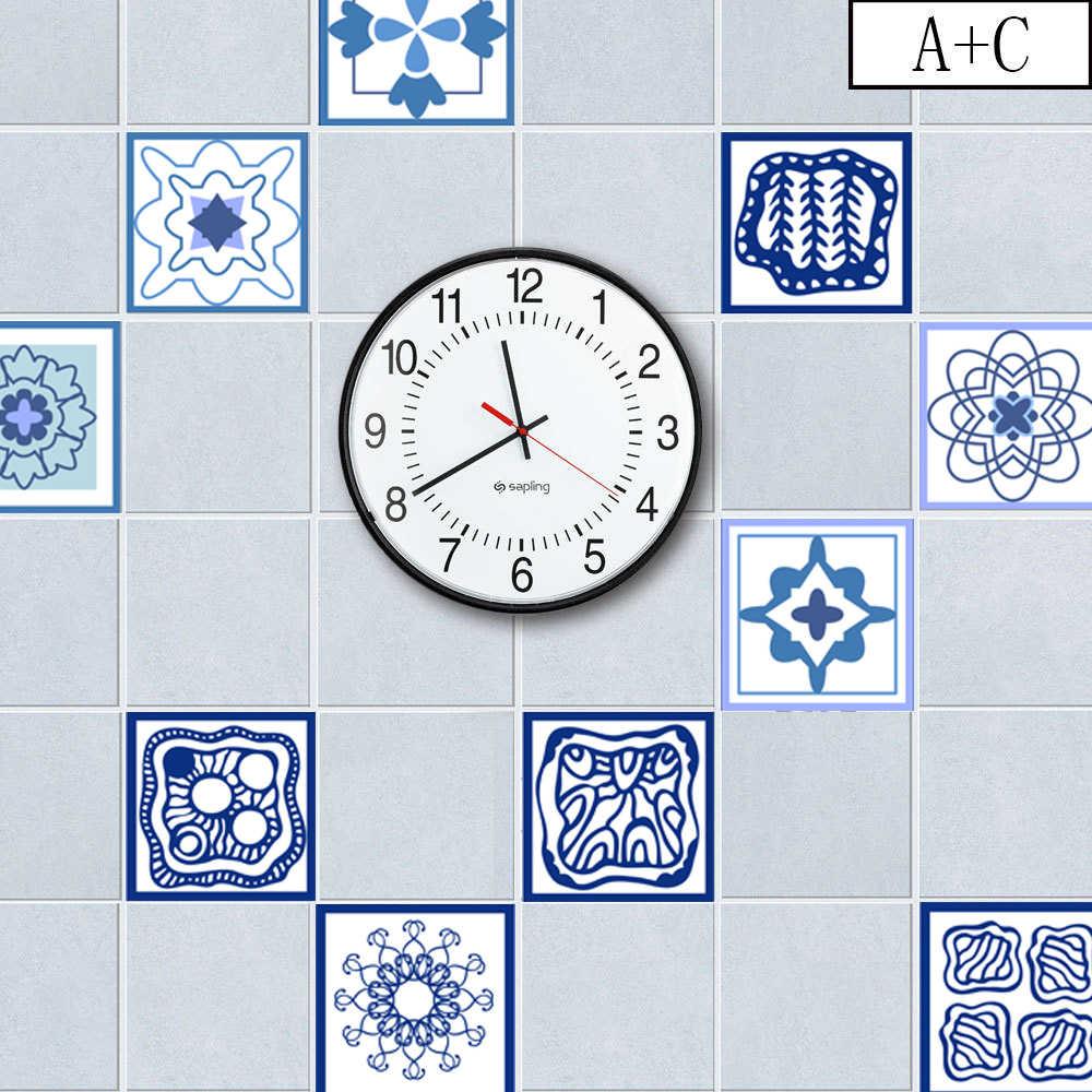 ثلاثية الأبعاد الأزرق والأبيض الخزف سلس فسيفساء نمط اليد تعادل مجردة الجدار ملصق الحمام الخصر خط ديكور المنزل الفينيل ملصق