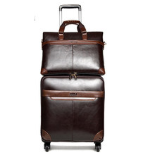 Men Business Rolling Luggage Set Spinner Wheel Suitcases 20 inch Retro Cabin Trolley 24 inch High capacity password Travel Bag(China)