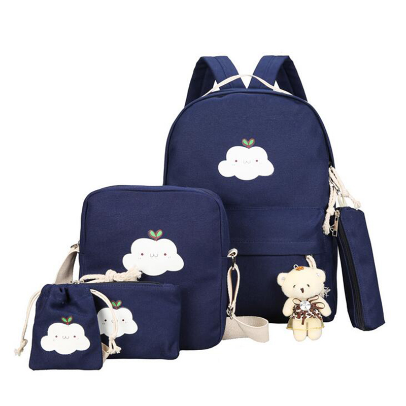 Cute Canvas 5piece / Set Backpack Women 2017 Fashion Printing Cloud School Bags For Women With Girls Purse & Bear 20%OFF T366 5piece 100