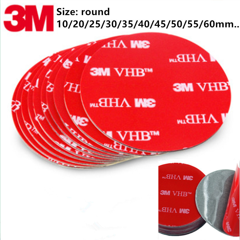 Various Sizes 10pcs/lot  Grey Round 3M VHB 5608 Acrylic Foam Double Sided Adhesive Tape 0.8mm Thickness