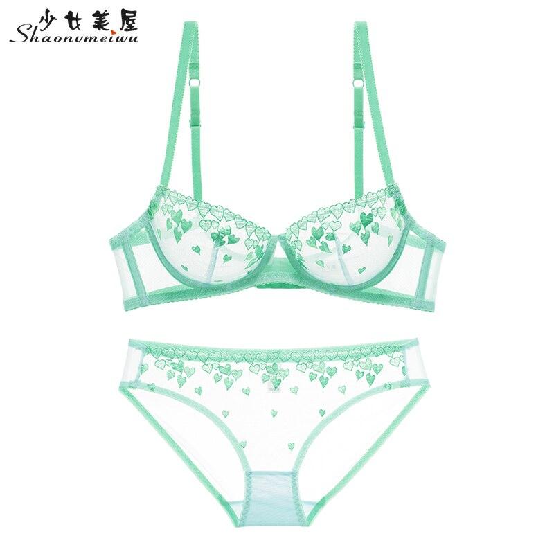 Shaonvmeiwu nova seção fina da rede das mulheres Sexy cueca rosa amor sutiã bordado transparente sutiã tentação