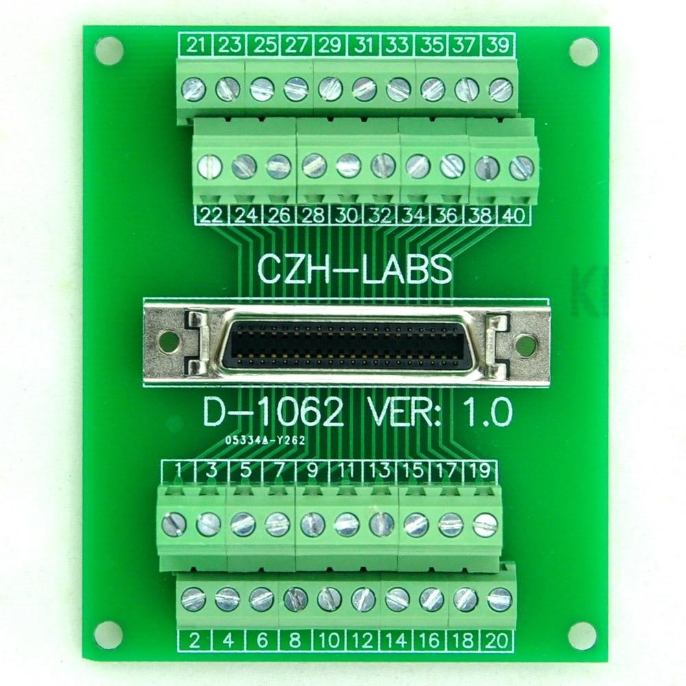 40-pin 0.05 Mini D Ribbon/MDR Female Breakout Board, SCSI, Terminal Module.40-pin 0.05 Mini D Ribbon/MDR Female Breakout Board, SCSI, Terminal Module.