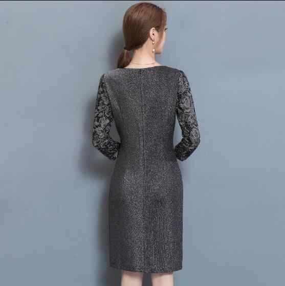 בתוספת גודל שמלות לנשים 4xl 5xl 6xl הברך אורך אלגנטי סקסי שמלות מסיבת בציר תחרה vestido inverno 2019 feminino j29
