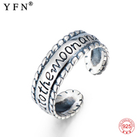 YFN 925 Sterling Silver Rings For Women I Love You To The Moon And Back Resizable Ring Anillos Mujer Jewelry Clearance Product