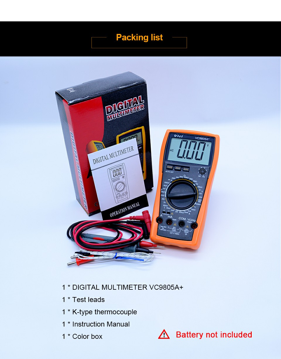 Vici Vc9805a Digital Multimeter Dmm Lcr Meter W Temperature Test Car Fuse Box 1digital 1pair Lead 1thermocouple Probe 1english Manual 1color