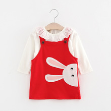 2017 Girls Clothes Cotton Two Piece Sets Above Knee Casual Dress For Girls Rabbit Three Quarter O-neck Summer Girls Dresses