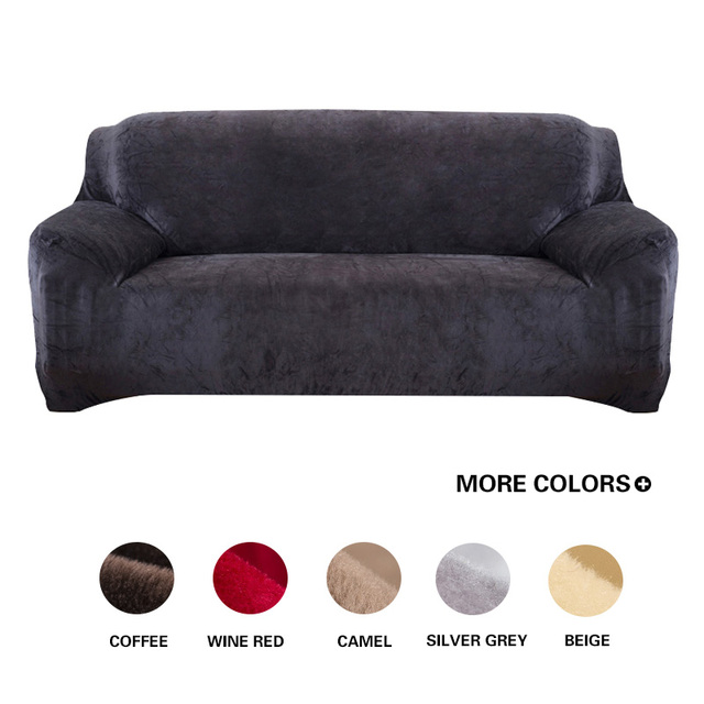 Grey Solid Color Plush Sofa Cover Elastic Slipcover Stretch Couch Corner Sectional L