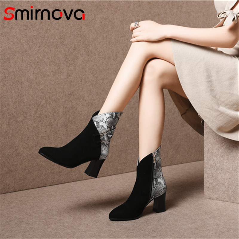 Smirnova HOT fashion ankle boots 2018 genuine leather woman boots high heel autumn pointed toe ladies boots zipper boots black цена
