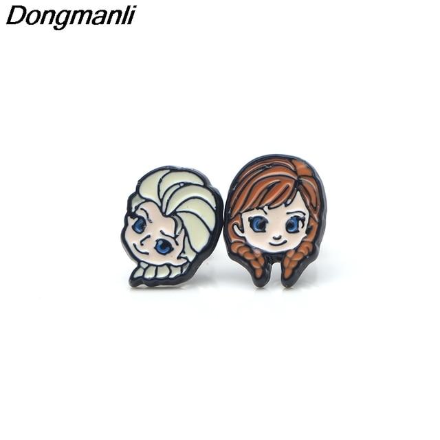 P2579 Dongmanli Cartoon Cute Enamel Pierced Earrings Women Children Kids Lovely Gifts