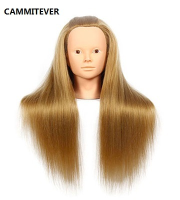 CAMMITEVER Blonde Professional Styling Head Wig Head Women Makeup Hairdressing Dummy Doll Training Head Hair Mannequin Head