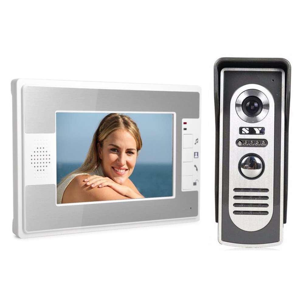 7 Inch TFT Video Door Phone Doorbell Intercom System Kit Waterproof Monitor Night Vision with HD Camera Wired Door Phone tmezon 7 inch tft wired smart video door phone intercom system with 4 night vision monitor 2x1200tvl rainproof doorbell camera