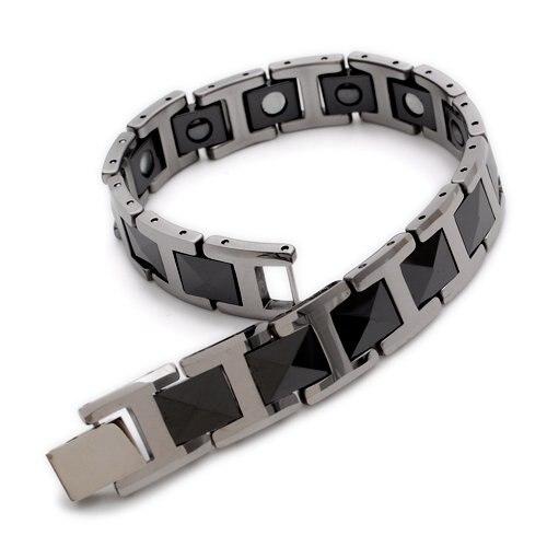 Black Silver Tungsten Magnetic Hemae Mens Bracelet 8 B386