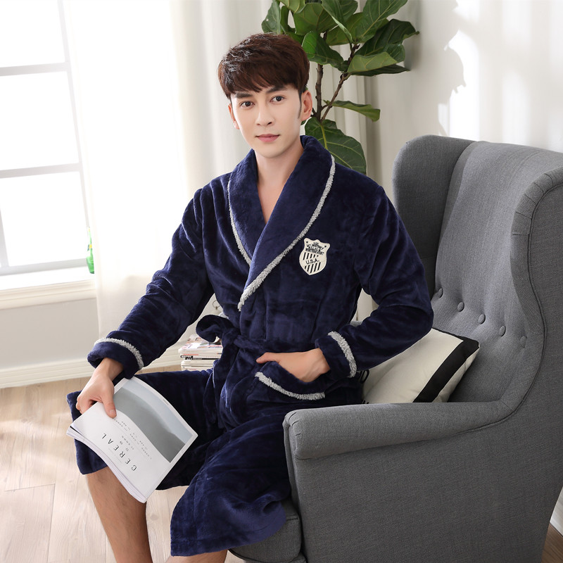 df62b1e1bd CherLemon Winter Luxury Flannel Robe Mens Warm Fluffy Bath Robe Super Soft  Thick Fleece Shawl Collar ...