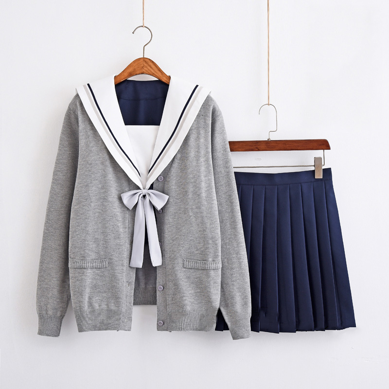 c336bb87467 US $33.99 15% OFF|Japanese Schools Girls' Uniform Cardigan High School Navy  Sailor Blue Dress Uniform Sets Outfit S XXL New Free Shipping ZF 0011-in ...