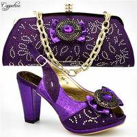 High class high heel sandal shoes matching with purse bag set with stones for lady 666 1 heel height 10cm