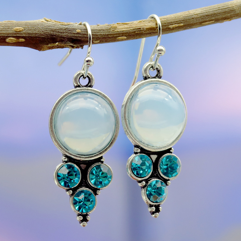 8Seasons Vintage Long Natural Moonstone Round Blue Rhinestone Female Dangle Earrings Wedding Party Drop Earrings Fashion Jewelry